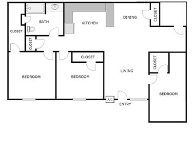 3 bed, 1 bath floor plan